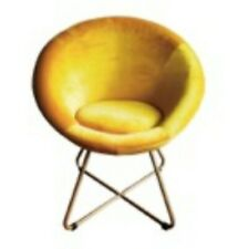 More details for mustard yellow velvet gold tone finish metal legs cocktail chair brand new