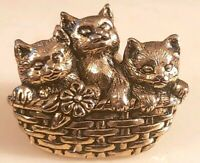 VINTAGE AVON Three Kittens In Basket  Tac Pin Goldtone Lapel Pin