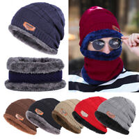 Men's Women Winter Beanie Hat Scarf Set Warm Fleece Knitted Thick Knit Cap ZH