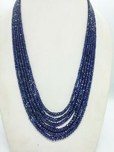"""6 Strands Natural Sapphire Multi Strand faceted Beads Necklace 20"""""""
