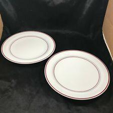 Pair of Corning Ware PYROCERAM Sculptured Red Stripe Dinner Plates