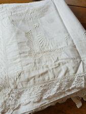 Vtg Embroidered Sheet Blanket Cover Monogram S M 58x97 floral bobbin lace trim
