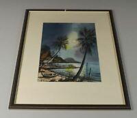 A2/ gemaltes Bild , Südsee Motiv - Palmen + Strand - gerahmt + signiert  /H12