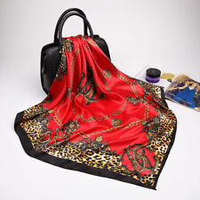 Fashion Leopard Chain Printed Silk-Satin Head Square Scarves Shawl Wrap
