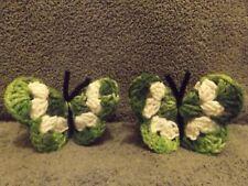 Crochet Green & White Butterfly Refrigerator Magnet Handmade Free Shipping