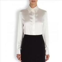Womens OL Fashion White Satin Silk Business Office Dress Formal Shirt Blouse Top
