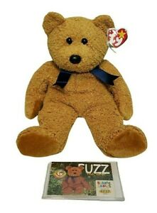 Vintage Brown TY Fuzz The Bear Beanie Babies Series II With Collector Card