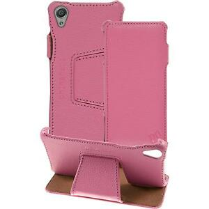 genuine Leather Case for Sony Xperia X - Leather-Case pink + glass film