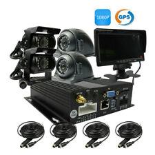 4CH GPS 1080P AHD 256GB SD Car DVR Video Record CCTV Camera System Live Monitor