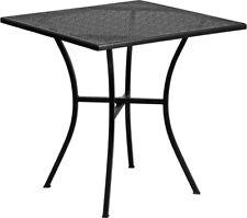 28'' Square Indoor-Outdoor Restaurant Patio Garden Table in Black Steel Metal