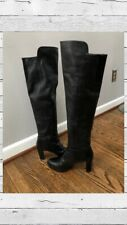 Stuart Weitzman Stretch Pull On Over The Knee Leather Boots Black Size 8.5