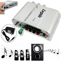 New Lvpin Mini Hi-Fi Stereo Amplifier Amp Radio MP3 200W 12V With Adapter
