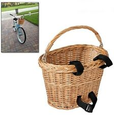 Bicycle Bike Wicker Handlebar Basket w/ Black Velcro Classic Tote Brown Shopping