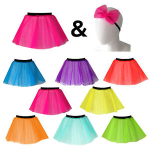 Ladies NEON TUTU and HAIR BOW 1980S costume HEN PARTY OUTFIT fancy dress UK MADE