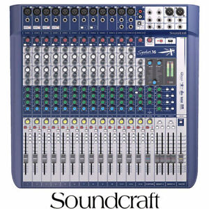 Soundcraft Signature 16 Mixing desk with integrated rack ears 16 Input with USB
