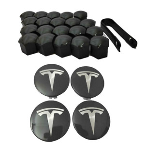 For Tesla Model 3 S & X Center Cap Set Aero Wheel Cap Kit & Wheel Lug Nut Cover-