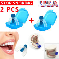 2PCS STOP SNORING MOUTHPIECE GUARD ANTI SNORE SLEEP BRUXISM APNEA TEETH GRINDING