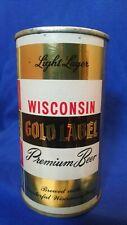 WISCONSIN GOLD LABEL PREMIUM BEER 12 FLUID OZS FLAT TOP ~ MONROE WIS ~ METALLIC