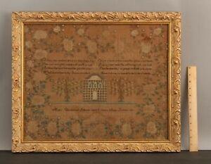 1811 Antique 19thC Folk Art Embroidery CHURCH Sewing Sampler, Mary Sullivan, NR