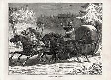 Stampa antica SLITTA TRAINATA DA CAVALLI SERVIZIO POSTALE RUSSIA 1892 Old print