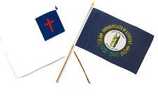 "12x18 12""x18"" Wholesale Combo Christ Christian State Kentucky Stick Flag"