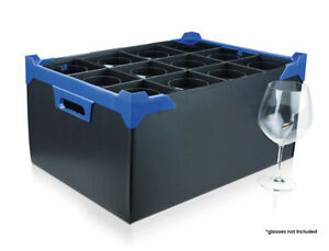 Wine Glass Crate - Glassware Storage Box - 12 Cells - Divider Size H220 x D111mm