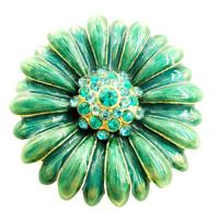 Vintage Monet Flower Sunburst Rhinestone Enamel Brooch Pin