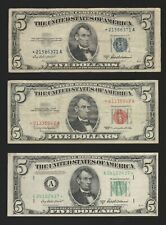 Circulated Red, Blue and Green $5 Star Note Lot--Ungraded, Ships Free