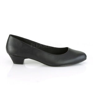 "1"" Black Leather Low Heels Mens Crossdresser Pumps Shoes in Womans size 13 14 15"