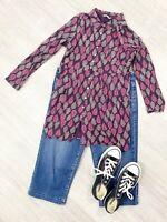 White Stuff Leaf Shirt Blouse Purple Mix Long Sleeves Casual Size 10 ladies