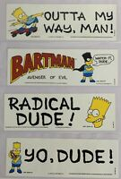 Lot (4) Vintage 1990s Simpsons MINT Unused Bumpers Stickers BARTMAN
