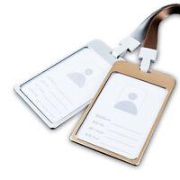 Aluminum Business Work Card ID Badge Holder Protector Adjustable Lanyard NTATAU