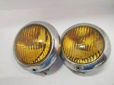 New listing Vintage Grote 211 Driving Fog Lights - General Electic Amber Yellow - Chrome (2)