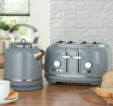 NEW GREY RETRO four Slice Toaster And RETRO Kettle