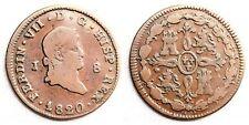 Espagne-Fernando VII 8 Maravedis 1820 Jubia. Presque MBC / VF Cuivre 9,4 G. Rare