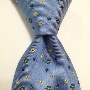 DUNHILL Men's 100% Silk XL Necktie ENGLAND Luxury FLORAL Blue/Yellow/Green EUC