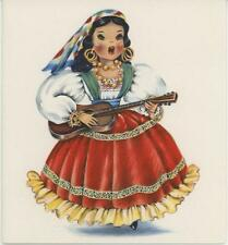VINTAGE MEXICAN COSTUME GIRL DOLL GUITAR PINNATA 1 DRESS UP MAKE UP VANITY CARD
