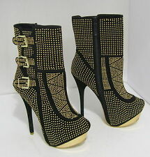 """new Black/Gold Stud 5.5""""Stiletto High Heel Round Toe Sexy Ankle Boots Size 6.5"""