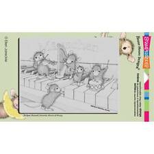 New STAMPENDOUS House Mouse RUBBER STAMP MUSICAL MICE PIANO Free us sHIP