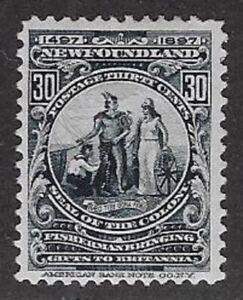 Canada, Newfoundland 1897 30¢ Slate, Mint, Sc #72, F/VF, H?OG- CV $70 - dw59.5