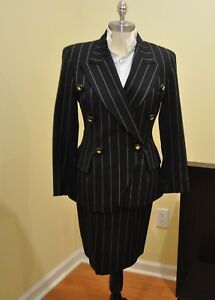 Luxury Wool Vintage Escada Margaretha Ley Navy Skirt Suit 36/38 Modified to US 4