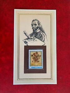 MALDIVES 1973 CARD ISP MNH ART VINCENT VAN GOGH SUNFLOWERS 1888