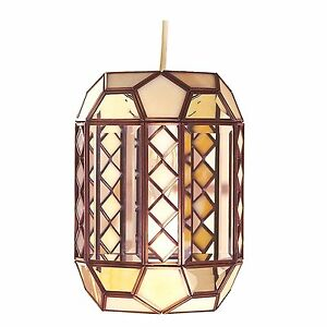 Beige And Clear Bevelled Glass Pendant Shade BV19 BV20 BV68S