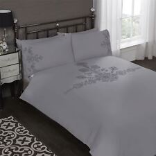 EMBROIDERED FLORAL SEQUINS GREY COTTON BLEND KING SIZE 6 PIECE BEDDING SET
