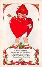 Valentine Postcard Boy Wearing Heart Sandwich Board Shield with Arrow~109630