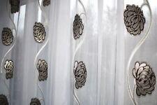 Exklusiver Hochwertiger Gardinen Stoff meterware, Weiß / Braun / Gold ,NEU