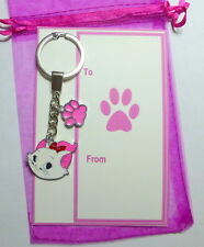 AristoCat Marie Novelty Cat Key Ring with Pink Paw Print Charm on Gift Card v2