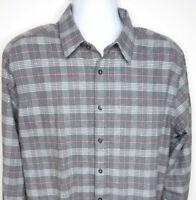 Untuckit Tall Regular Gray Plaid Flannel Long Sleeve Shirt Mens Size XL