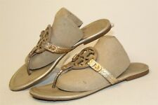 Tory Burch Miller Womens 8.5 M Metallic Gold Leather Sandals Flats Shoes