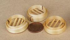 1:12 SCALA 3 Vassoi In Bambù Dim Sum Steamer cestini Casa delle Bambole Accessorio alimentare Zu